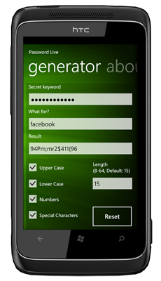 Picture showing Password Live on Windows Phone